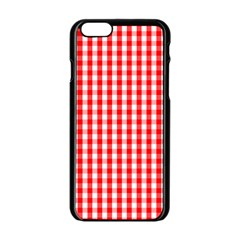 Large Christmas Red And White Gingham Check Plaid Apple Iphone 6/6s Black Enamel Case by PodArtist