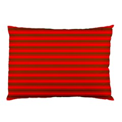 Christmas Red And Green Bedding Stripes Pillow Case by PodArtist
