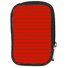 Christmas Red And Green Bedding Stripes Compact Camera Cases by PodArtist