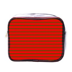 Christmas Red And Green Bedding Stripes Mini Toiletries Bags by PodArtist
