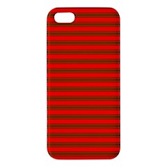 Christmas Red And Green Bedding Stripes Apple Iphone 5 Premium Hardshell Case by PodArtist