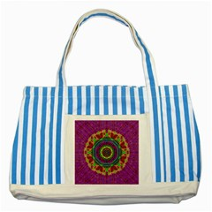 Mandala In Heavy Metal Lace And Forks Striped Blue Tote Bag by pepitasart