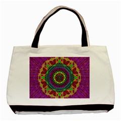 Mandala In Heavy Metal Lace And Forks Basic Tote Bag (two Sides) by pepitasart