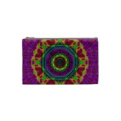 Mandala In Heavy Metal Lace And Forks Cosmetic Bag (small)  by pepitasart
