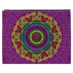 Mandala In Heavy Metal Lace And Forks Cosmetic Bag (xxxl)  by pepitasart