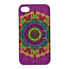 Mandala In Heavy Metal Lace And Forks Apple Iphone 4/4s Hardshell Case With Stand by pepitasart