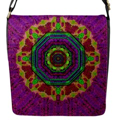 Mandala In Heavy Metal Lace And Forks Flap Messenger Bag (s) by pepitasart
