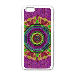 Mandala In Heavy Metal Lace And Forks Apple Iphone 6/6s White Enamel Case by pepitasart