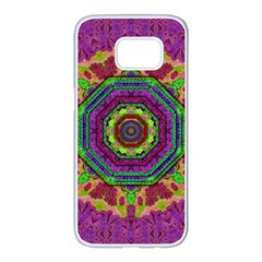 Mandala In Heavy Metal Lace And Forks Samsung Galaxy S7 Edge White Seamless Case by pepitasart
