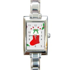 Christmas Stocking Rectangle Italian Charm Watch