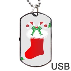 Christmas Stocking Dog Tag Usb Flash (one Side) by christmastore