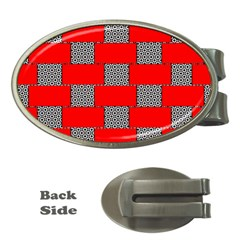 Black And White Red Patterns Money Clips (oval)  by Celenk