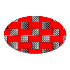 Black And White Red Patterns Oval Magnet by Celenk