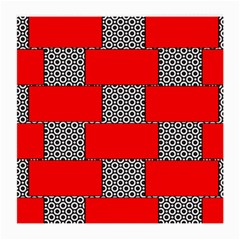 Black And White Red Patterns Medium Glasses Cloth (2 Side) by Celenk