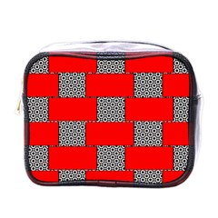 Black And White Red Patterns Mini Toiletries Bags by Celenk