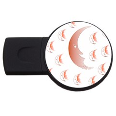 Moon Moonface Pattern Outlines Usb Flash Drive Round (2 Gb) by Celenk