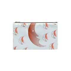 Moon Moonface Pattern Outlines Cosmetic Bag (small)  by Celenk