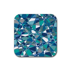 Abstract Background Blue Teal Rubber Square Coaster (4 Pack)  by Celenk