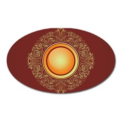 Badge Gilding Sun Red Oriental Oval Magnet by Celenk