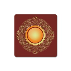 Badge Gilding Sun Red Oriental Square Magnet by Celenk
