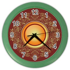 Badge Gilding Sun Red Oriental Color Wall Clocks by Celenk