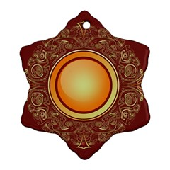 Badge Gilding Sun Red Oriental Snowflake Ornament (two Sides) by Celenk