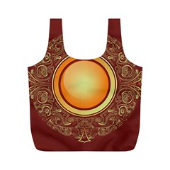 Badge Gilding Sun Red Oriental Full Print Recycle Bags (m)  by Celenk