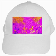 Spring Tropical Floral Palm Bird White Cap by Celenk