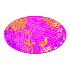 Spring Tropical Floral Palm Bird Oval Magnet by Celenk