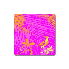 Spring Tropical Floral Palm Bird Square Magnet by Celenk