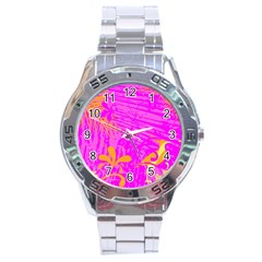 Spring Tropical Floral Palm Bird Stainless Steel Analogue Watch by Celenk