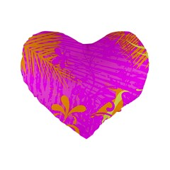 Spring Tropical Floral Palm Bird Standard 16  Premium Flano Heart Shape Cushions by Celenk