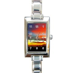 Sunset Mountain Indonesia Adventure Rectangle Italian Charm Watch by Celenk