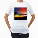 Sunset Mountain Indonesia Adventure Women s T-Shirt (White) (Two Sided)