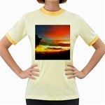 Sunset Mountain Indonesia Adventure Women s Fitted Ringer T-Shirts