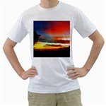 Sunset Mountain Indonesia Adventure Men s T-Shirt (White) (Two Sided)