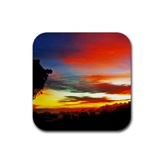 Sunset Mountain Indonesia Adventure Rubber Square Coaster (4 Pack)  by Celenk