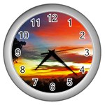 Sunset Mountain Indonesia Adventure Wall Clocks (Silver)
