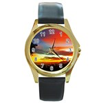 Sunset Mountain Indonesia Adventure Round Gold Metal Watch