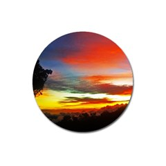 Sunset Mountain Indonesia Adventure Magnet 3  (round) by Celenk