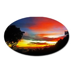 Sunset Mountain Indonesia Adventure Oval Magnet by Celenk