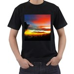Sunset Mountain Indonesia Adventure Men s T-Shirt (Black) (Two Sided)