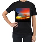 Sunset Mountain Indonesia Adventure Women s T-Shirt (Black) (Two Sided)