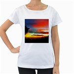 Sunset Mountain Indonesia Adventure Women s Loose-Fit T-Shirt (White)