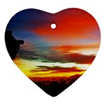 Sunset Mountain Indonesia Adventure Heart Ornament (Two Sides)