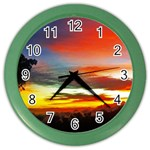 Sunset Mountain Indonesia Adventure Color Wall Clocks