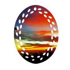 Sunset Mountain Indonesia Adventure Ornament (oval Filigree) by Celenk