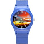 Sunset Mountain Indonesia Adventure Round Plastic Sport Watch (S)