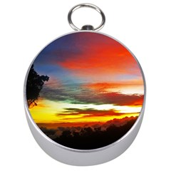 Sunset Mountain Indonesia Adventure Silver Compasses by Celenk