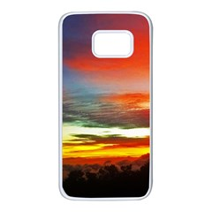 Sunset Mountain Indonesia Adventure Samsung Galaxy S7 White Seamless Case by Celenk